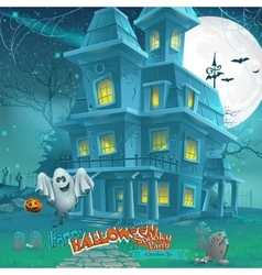 Cartoon night a mysterious haunted house in the vector image vector image