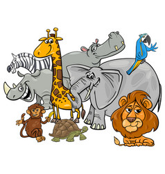 cartoon safari animal characters group vector image vector image