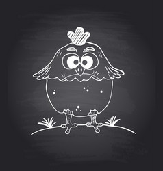 Chalkboard background with funny chicken il vector