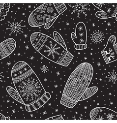 Christmas boho mittens seamless pattern black vector