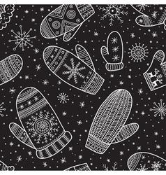 christmas boho mittens seamless pattern black vector image vector image