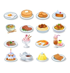 Computer icons of various dishes vector image