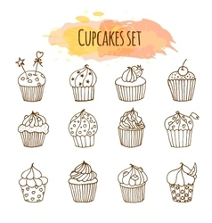 Cupcake set of 12 cute hand vector
