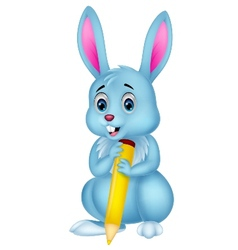 Cute rabbit cartoon holding yellow pencil vector image vector image
