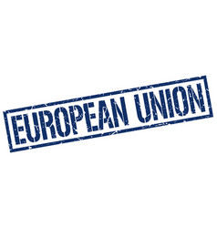 European union blue square stamp vector