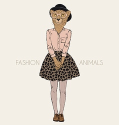Fashion animal anthropomorphic design furry art vector