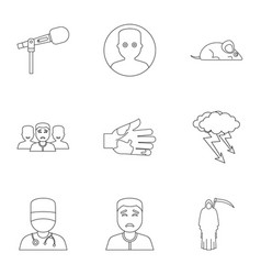 Fear icon set outline style vector