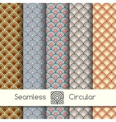 Five seamless circular patterns vector image vector image