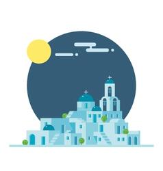 Flat design of santorini greece village vector