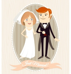 Hipster funny couple just married Flat style vector image vector image