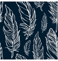 Seamless pattern with outline decorative feathers vector image vector image