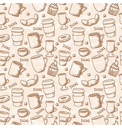 seamless sketchy doodle style coffee cups and mugs vector image
