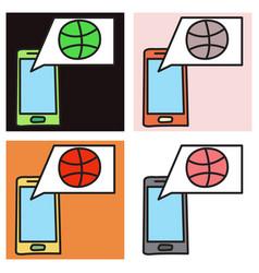 Set of unusual look dribbble social media icon vector