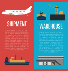 Shipment and warehouse banner set vector