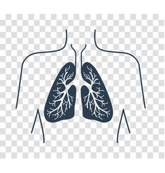 Silhouette icon of the human lungs vector