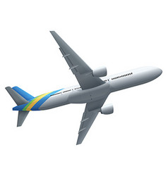 Single airplane on white background vector image