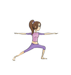 Slender girl doing exercises vector