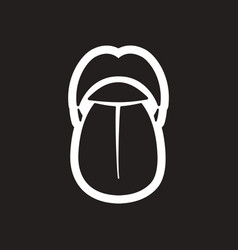 Stylish black and white icon human tongue vector