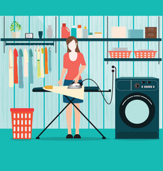 Woman ironing of clothes on ironing board vector