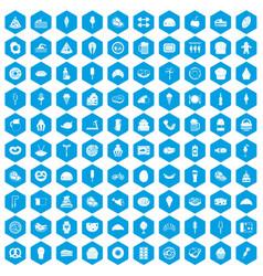 100 calories icons set blue vector