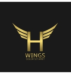 Wings H letter logo vector image