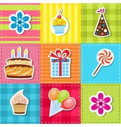 patchwork with birthday party elements vector image