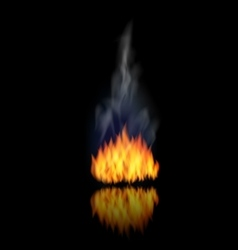 Realistic Fire Flame with Smoke on Black vector image