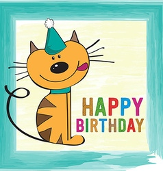 Childish birthday card with funny little cat vector