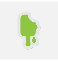 Simple green icon - melting stick ice cream vector