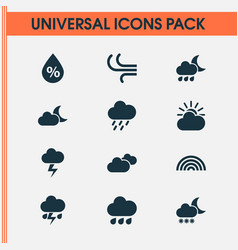 Climate icons set collection of nightly weather vector