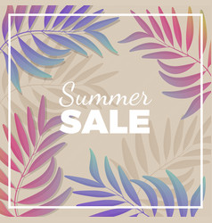 summer sale promotional banner with plant branches vector image