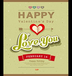 Happy valentine message on recycled paper backgrou vector