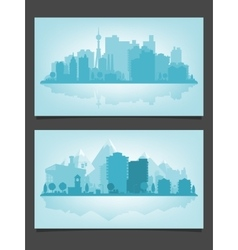 Urban skyline with relections vector