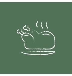 Baked whole chicken icon drawn in chalk vector