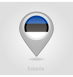Estonian flag pin map icon vector