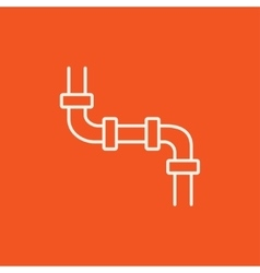 Water pipeline line icon vector