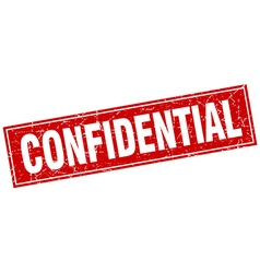 Confidential red square grunge stamp on white vector