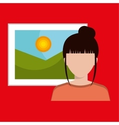 Woman and picture isolated icon design vector