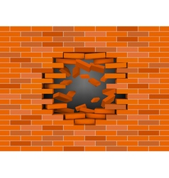 Red broken brick wall vector image