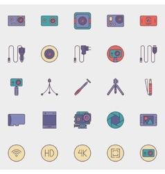 Action camera icons vector image