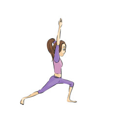 Beautiful girl doing exercises vector