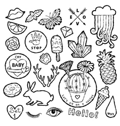 Black and white fashion patch badge elements in vector