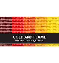 Brick pattern set gold and flame seamless vector