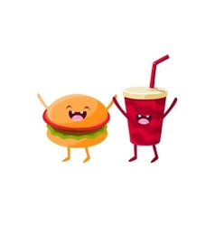 Burger And Soda Cartoon Friends vector image vector image