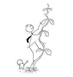 Cartoon of businessman climbing high beanstalk vector