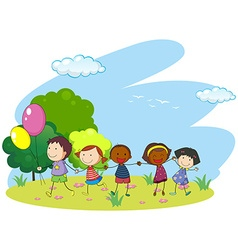 Children holding hands in the park vector