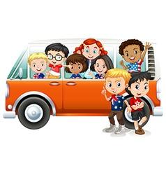 Children riding in orange camper van vector