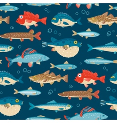 Colorful fish seamless pattern vector image vector image