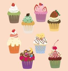 Cutie cupcakes sweets vector