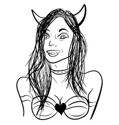 Demon girl sketch vector image